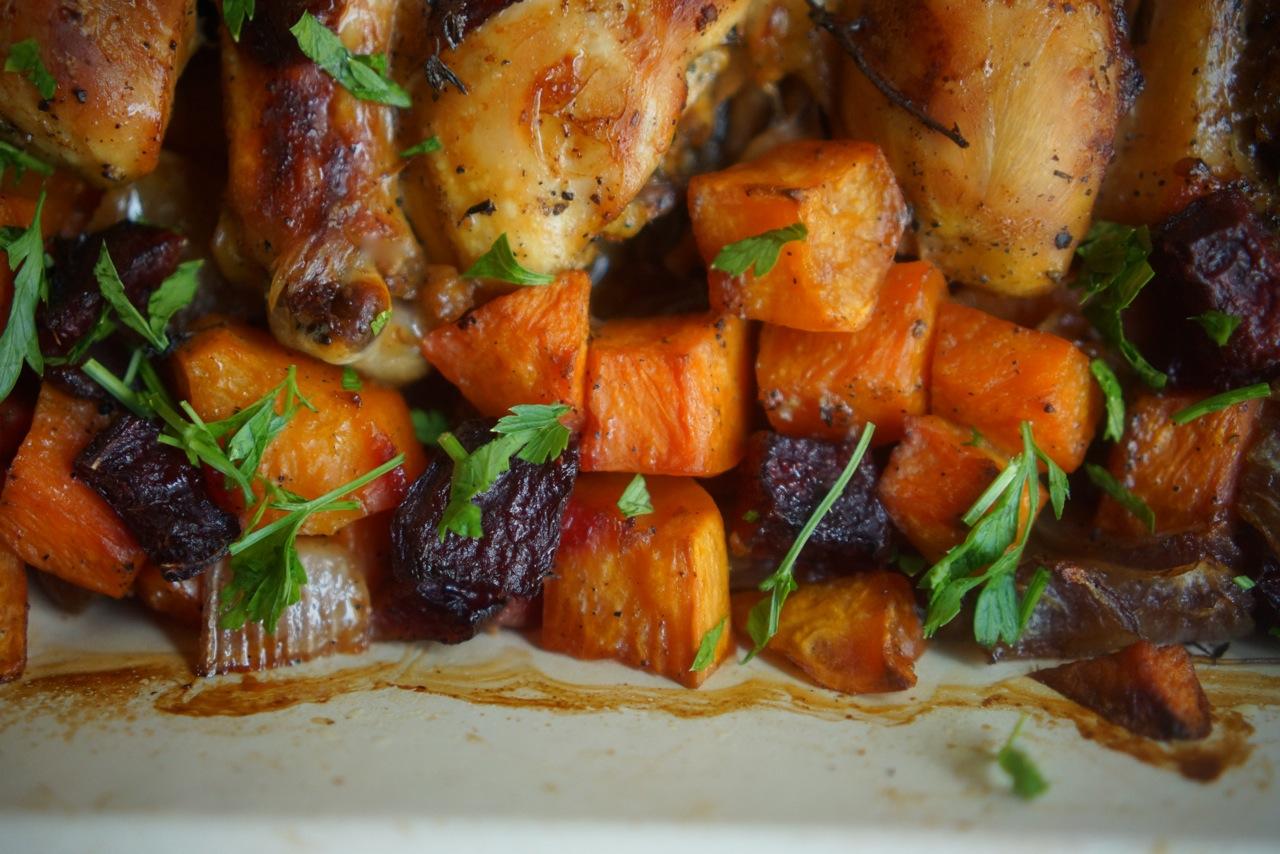 שוקי עוף צלויות עם סלק ודלעת, גבישס - בלוג האוכל של מירב גביש