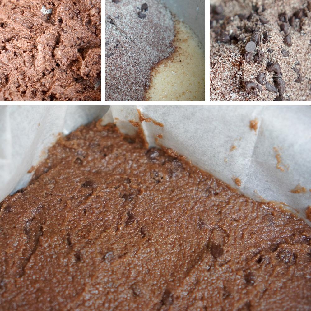תבנית עם בלילה אפויה לפני חיתוך לריבועים. מתוך מתכון חיתוכיות שוקולד צ׳יפס ללא קמח בלוג גבישס.