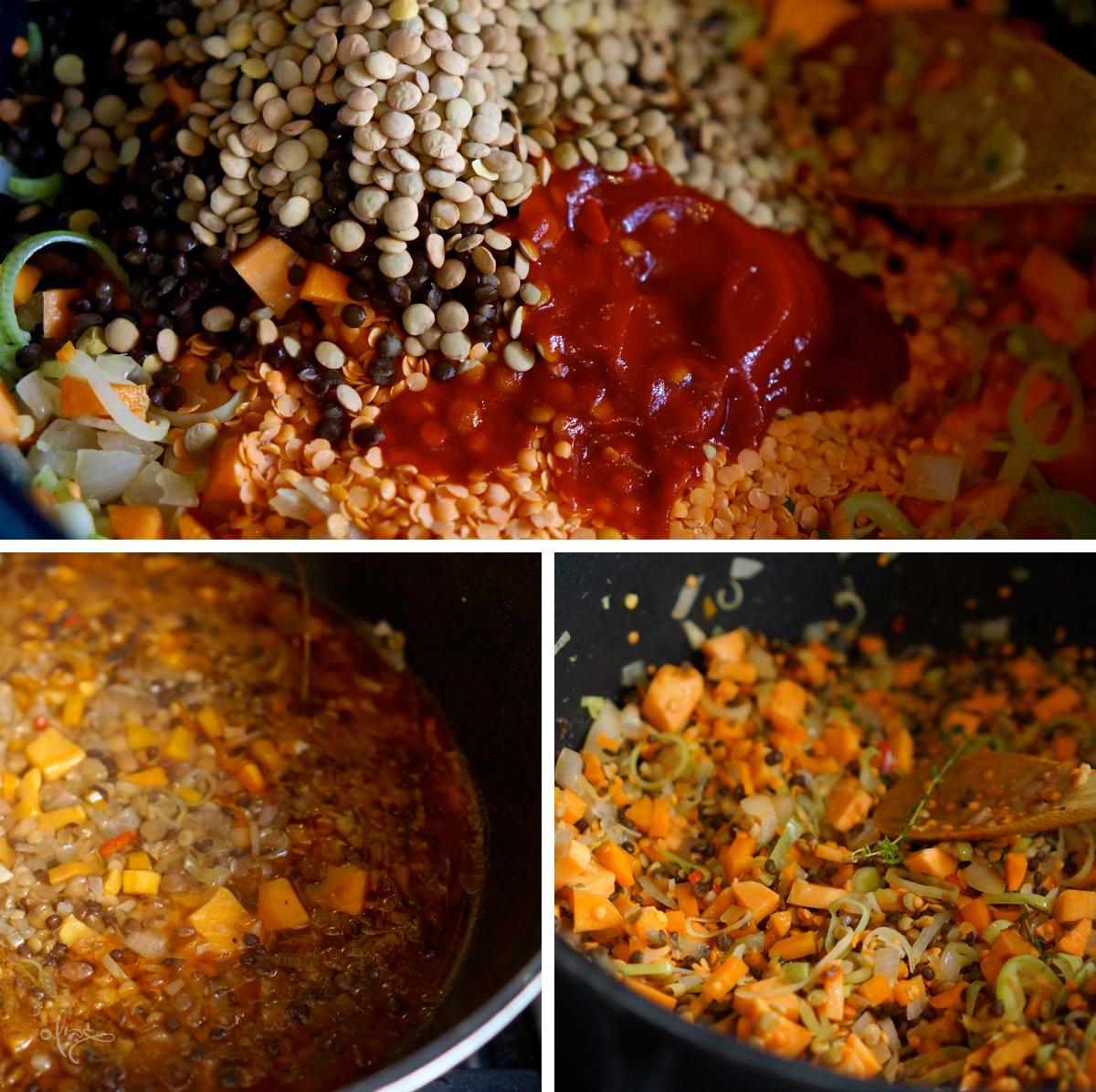 שלבי הכנת המרק: עדשים וכף רסק עגבניות, מים ותבלינים: סוכר, מלח, פלפל שחור, ג'ינג'ר. עלי הבקצ'וי או המנגולד.