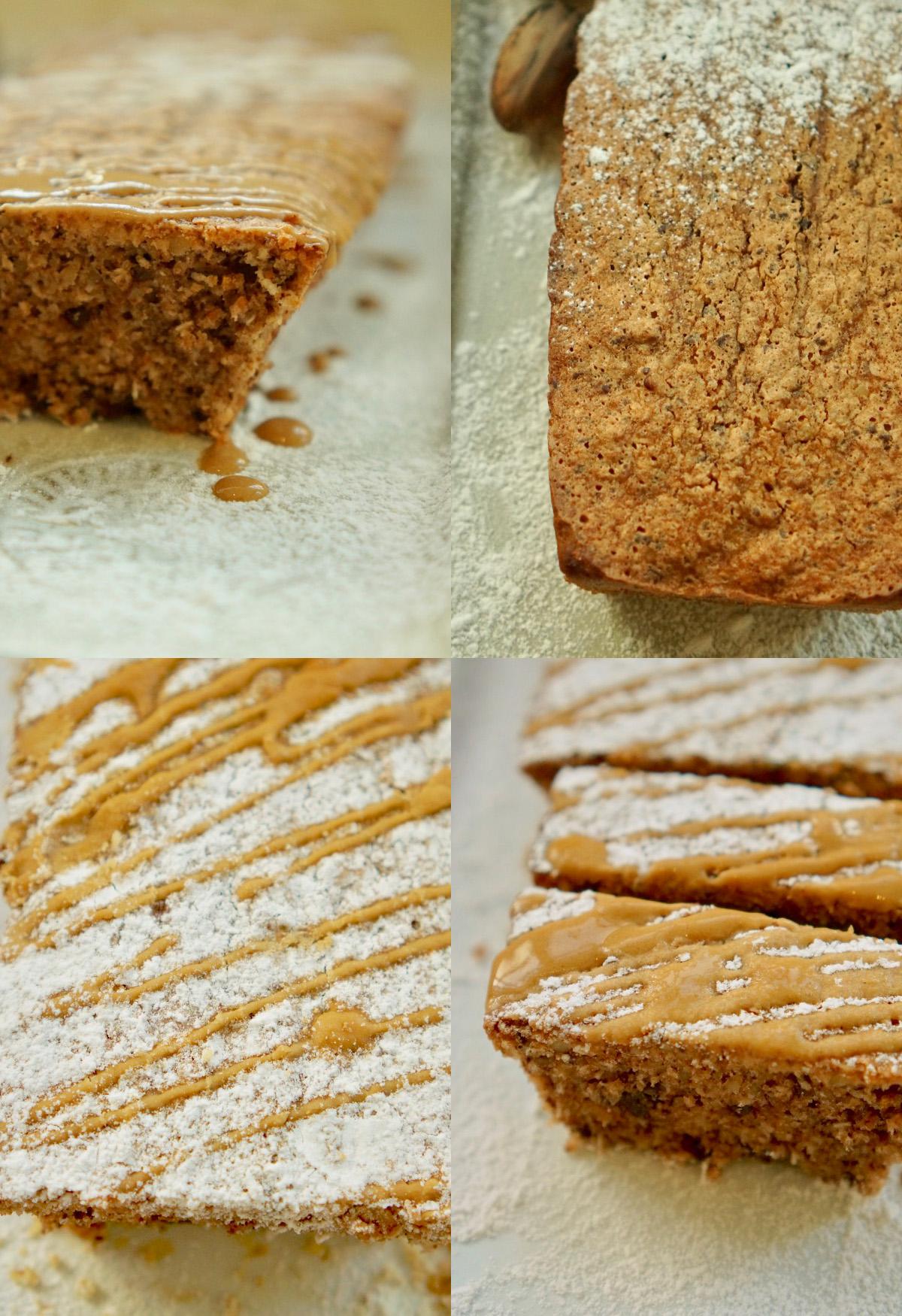 קולאג׳ של עוגת אגוזים. עוגת אגוזים עם אבקת סוכר. עוגת אגוזים עם אבקת סוכר מעל וזיגוג קפה. עוגת אגוזים עם אבקת סוכר מעל וזיגוג קפה. מעל פזורים אגוזים קצוצים. פרוסות עוגות אגוזים.