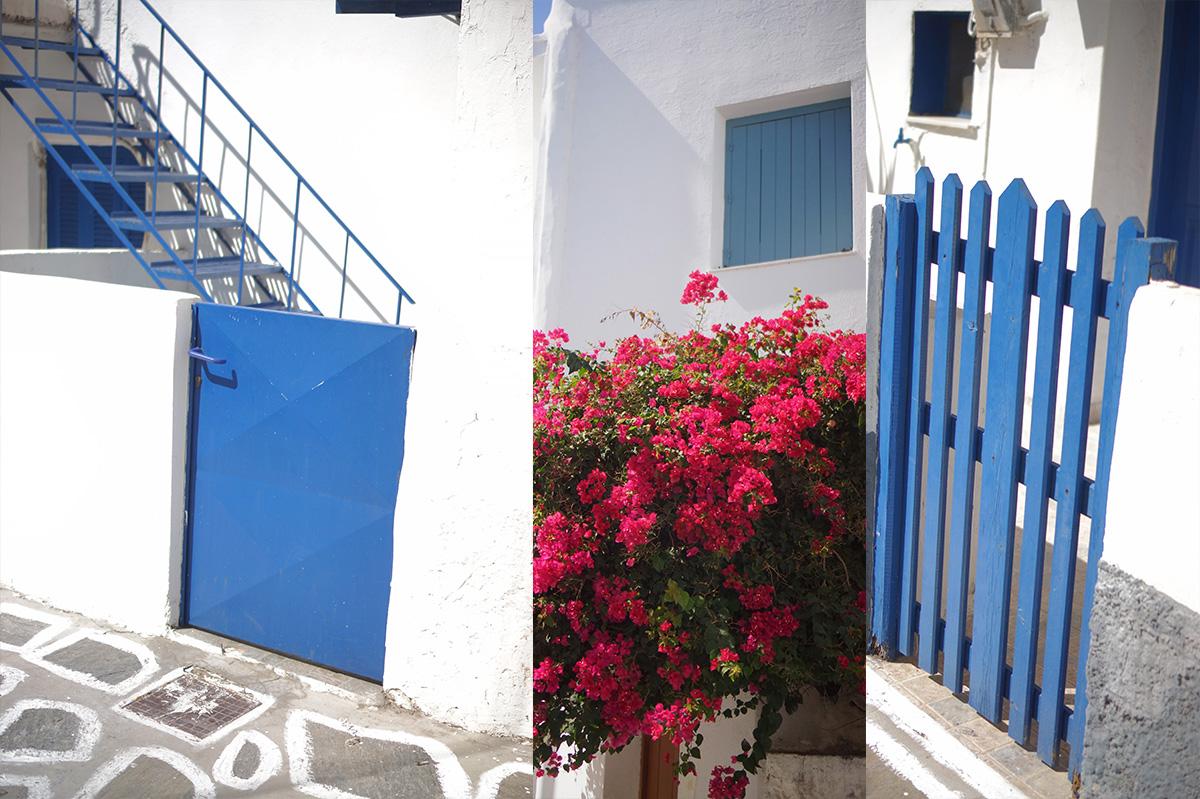 בית יווני שצילמתי באי פארוס ביוון. צבוע בלבן עם דלת כחולה.